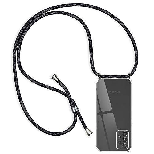 Handykette Hülle Kompatibel mit Samsung Galaxy A52 5G/4G, Transparent Silikon Handyhülle mit Band für Samsung A52 Schutzhülle mit Kordel, Rosyheart Bumper Cover zum Umhängen Necklace Halskette Schwarz