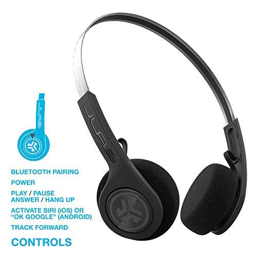 JLabオーディオ巻き戻しワイヤレスレトロヘッドホン|ブルートゥース4.2|12時間プレイタイム|カスタムEq3サウンド|音楽コントロール|ノイズアイソレーション|マイク付き|スローバック80S90Sデザイン|ブラック