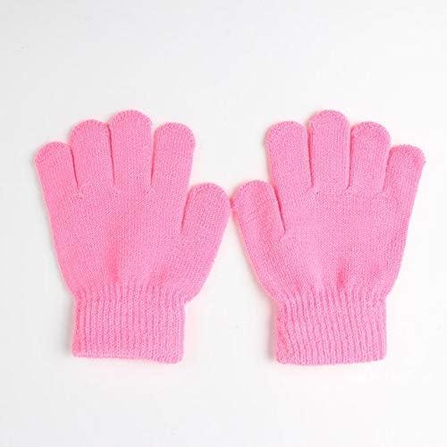 NANSHAN SFACN Winter Warm Gloves Children's Knitted Stretch Gloves Full Fingertip Gloves One Size, Gloves (Color : Pink)