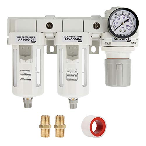 Solimeta Double Air Filters, Air Pressure Regulator Combo 1/2'NPT, Air Compressor Accessories, Air Dryer,Air Compressor Regulator, Air Dryer for Compressor, Compressed Air Dryer