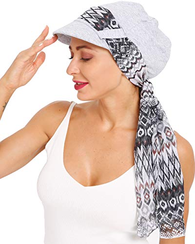 Newsboy Cap with Scarf Breathable Bamboo Cotton Lined Chemo Hat for Women of DORALLURE Gray