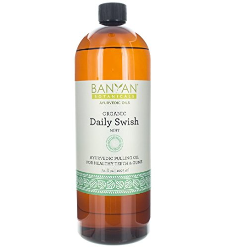 Banyan Botanicals Daily Swish Mint – Organic Ayurvedic Oil Pulling Mouthwash with Coconut Oil – for Oral Health, Detoxification, Healthy Teeth, Gums* – 34oz – Non GMO Sustainably Sourced Vegan