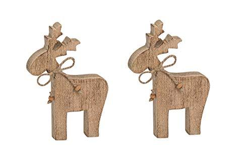 2 Stück Elch Figuren Holz 20 cm Natur Weihnachten Dekoration
