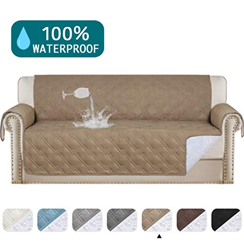 Turquoize 100% Waterproof Couch Cover from Dogs Sofa Cover Protector for Leather Sofa Waterproof Couch Protectorr Soft and Smooth Quilted Furniture Protector Non Slip Cover for Pets(Sofa 68', Taupe)