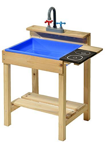 GASPO Matschküche Alice | Spielzeug aus Holz, Natur | B 54 x T x 37 x H 58 cm, Kinderküche für Indoor und Outdoor