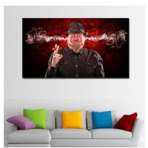 HD Prints Mannen Eten Peper Oor Roken Abstracte Kunst Portret Schilderij Canvas Gedrukt Wall Art Prints Poster 70X100cm zonder lijst