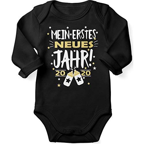 Mikalino Babybody mit Spruch für Jungen Mädchen Unisex Langarm Mein erstes neues Jahr! 2020 | handbedruckt in Deutschland | Handmade with Love, Farbe:schwarz, Grösse:68