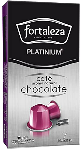 Café Fortaleza Platinium – Cápsulas Compatibles con Nespresso, de Aluminio, Café con Aroma Chocolate, 100% Arábica, Tueste Natural, Pack 8x10 - Total 80 uds