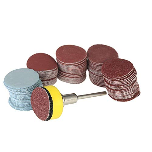 Sanding Discs Pads, Dyna-Living 100 PCS 25mm 1' Sanding Discs Pad Kit for Drill Grinder Rotary Tools with Backer Plate 1/8' Shank Includes 100-3000 Grit Sandpaper