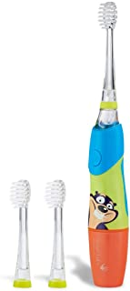 Brush Baby KidzSonic Toddler and Kid Electric Toothbrush for Ages 3+ Years - Disco Lights, Gentle Vibration, and Smart Timer Provide a Fun Brushing Experience - (3) 3+ yrs Brush Heads Included (Blue)