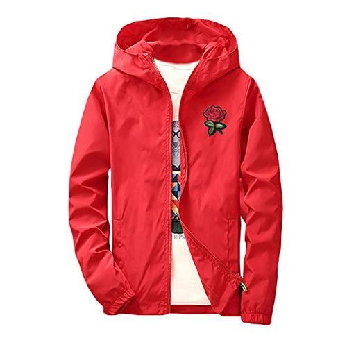 AITFINEISM Men's Lightweight Hooded Zip up Sports Jacket Windproof Windbreaker (Small, Red-Rose)