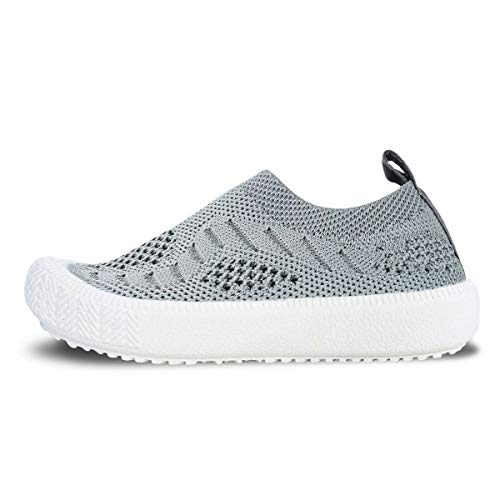JAN & JUL Kids Light-Weight Breathable Knit Sneakers, Non-Slip Soles (Grey, US Size 9)