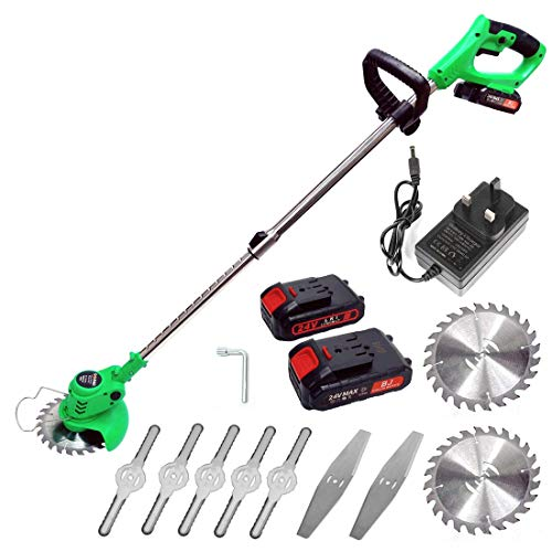 YASSIMY Cordless Grass Trimmer Lawn Mower Electric Garden Handheld Strimmer with 24V Lithium-ion Battery, 2 Blades, 850W Motor