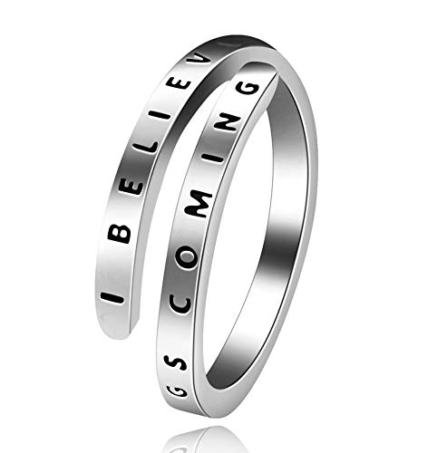 Uloveido Adjustable 925 Sterling Silver Inspirational Ring, I Believe Open Wrap Band Rings Y550 (Platinum)