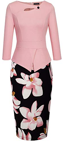 HOMEYEE Women's Elegant Chic Bodycon Formal Dress B288 (XXL, A-Light Pink)