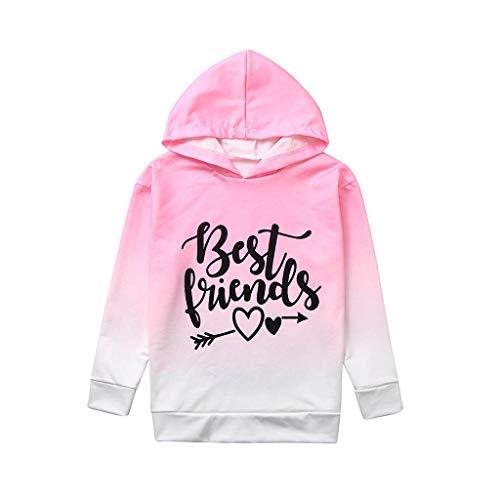 Mädchen Frühling Beste Freunde Farbverlauf Farbe Hoodie Pullover Sweatshirt Langarm Sommer Kleinkind Kinder Baby Bluse Tops T-Shirt Kleidung Outfit (2-3 Jahre, Pink)