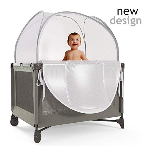 Nahbou Baby Crib Tent - Pack 'n Play: Net Cover Crib Tent To Keep Baby From Climbing Out And Safety Crib Tent To Keep Cats Out. Popup Crib Net And Crib Cover Protects Against Mosquito Bites & Toddlers