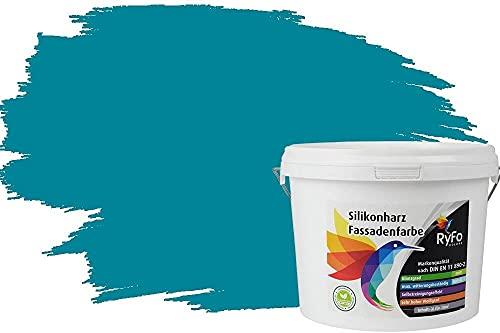RyFo Colors Silikonharz Fassadenfarbe Lotuseffekt Trend Opal 3l - bunte Fassadenfarbe, weitere Blau Farbtöne und Größen erhältlich, Deckkraft Klasse 1