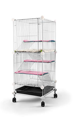 Pet Hutch Cages for Hamster, Rat or Other Small Animals Indoor, Expandable and Stackable, 14x14x36 in