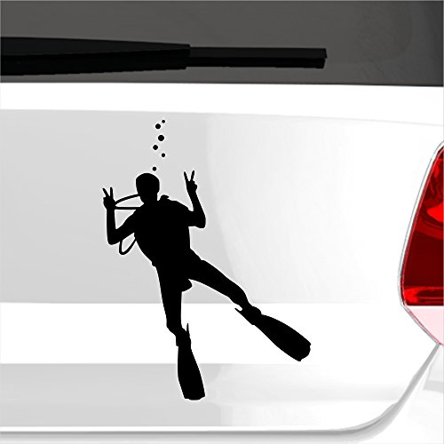 malango® Aufkleber Taucher Tauchen Tauchgang Sticker Wasser Wassersport Sport Meer ca. 11 x 15 cm schwarz