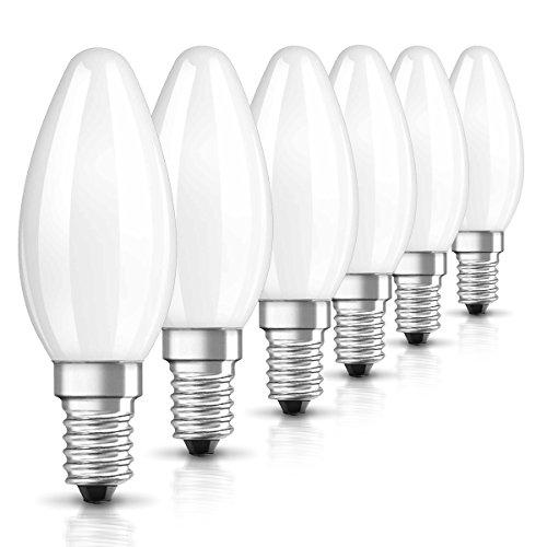 Osram LED Star Classic B Lampe, in Kerzenform mit E14-Sockel, nicht dimmbar, 2.5 W=25 Watt, Matt, Warmweiß - 2700 Kelvin, 6er-Pack