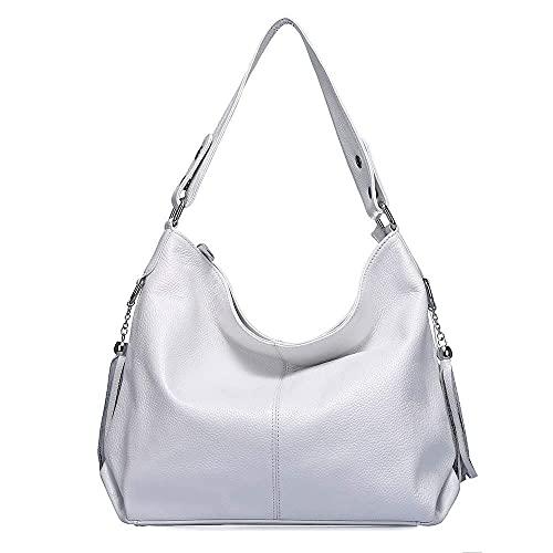Soft Real Genuine Leather Tassel Women's Handbag Ladies Shoulder Tote Messenger Bag Purse Satchel Black White (White)