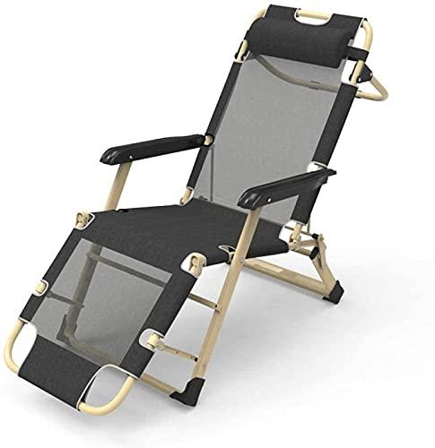 CHLDDHC Recliner Klappbarer Reclining Zero Gravity Outdoor Stuhl für Garten Outdoor Patio Sonnenliegen Bett,Black-52CM