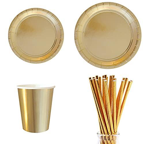 SHENGYANG ,Suministros de Fiesta de Oro, Plato, Platos de Papel ecológicos, 77 Piezas de Ideal for Any Party Buffets | Picnics | Barbacoa