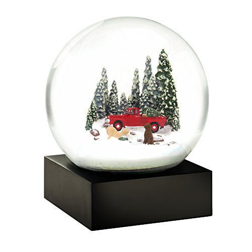 CoolSnowGlobes Red Truck and Dogs Cool Snow Globe