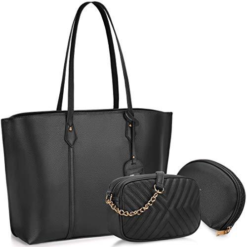 Bolso para Mujer Cuero PU Bolso de hombro Monedero 3Pcs Bolso Grande Bolso Señoras Shopper Totes para Escuela Compras ViajeOficina Negro