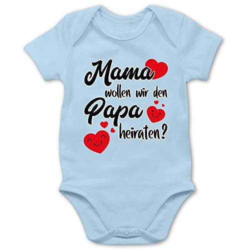 Shirtracer Valentinstag Baby - Mama wollen wir Papa heiraten Herzen - 1/3 Monate - Babyblau - Body Junge Mama - BZ10 - Baby Body Kurzarm für Jungen und Mädchen