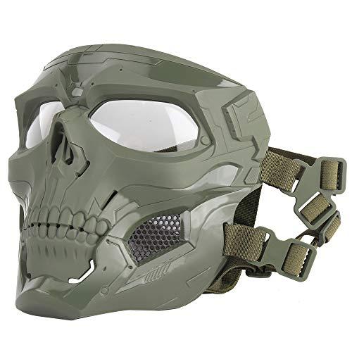 ATAIRSOFT Schädel Airsoft Integralhelm Maske Horror CS Halloween Schutz Maskerade Party Cosplay Outdoor Taktische Maske (OD Grün)