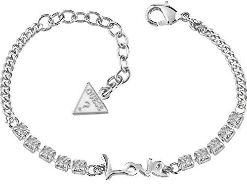 Guess Damen-Armband My Feelings 4U mit Anhänger Edelstahl Kristall weiß 19 cm-UBB61077-S