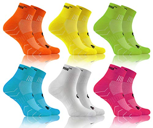 Sesto Senso Baumwolle Sportsocken Damen Herren Bunte Sport Socken 3-6 Paar Gelb Grün Türkis Weiß Rosa 35-38 6 Pack Orange