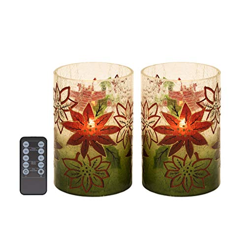 """Gradient Crackle Glass Led Candles and Remote Timers Set of 2 (D4""""x H6"""") Real Wax Pillar Flameless Candles in Christmas Poinsettia Glass Holder, Flameless LED Candle Christmas Decorations"""