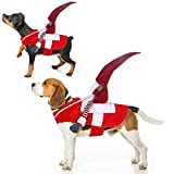 Dog Christmas Costume Cosplay Outfit For Small Medium Large Dogs,Pet Clothes Suit Gift Santa Claus Riding On Apparel Halloween Holiday Party Dress Up Prop Toy for Shih Tzu Poodle Bichon Corgis