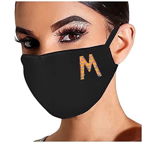 1 STK. Schwarzer Mundschutz Letter Print Waschbarer Mund- und Nasenschutz für Frauen Schwarzer Mundschutz Halstuch Wiederverwendbares atmungsaktives Bandana(M)