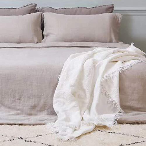 idunmed Manta de lino 100% puro de Bélgica con flecos, ligera, tamaño 152 x 70 cm, para cama, sofá, viajes, camping, interior y exterior (blanco)