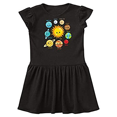 inktastic Cute Planets, Solar System, Astronomy, Toddler Dress 3T Black 35a52