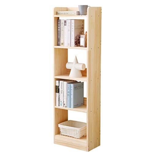 Étagère en bois massif créative sur pied, support de rangement simple à quatre couches et petit rack (Color : Natural)