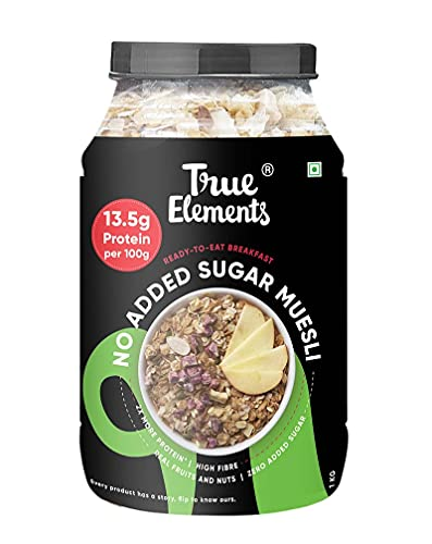 True Elements Muesli Sugar Free 1kg - Packed with 13.5g Plant Protein | Breakfast Cereal | Diet Food for Weight Loss | No Added...