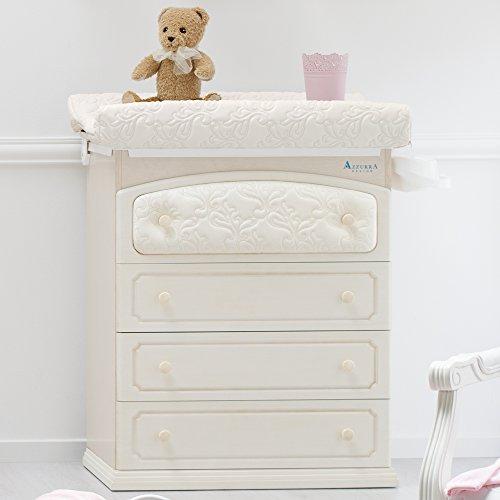 Baby Wickelkommode - besonderer Baby Wickeltisch mit abgesetzten Öko-Kunstleder - Baby Wanne und Aufsatz - 4 Schubladen Rinascimento antikweiß