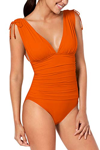 COCOLEGGINGS Women's Plunge V Neck Backless Ruched One Piece Swimsuit Orange L