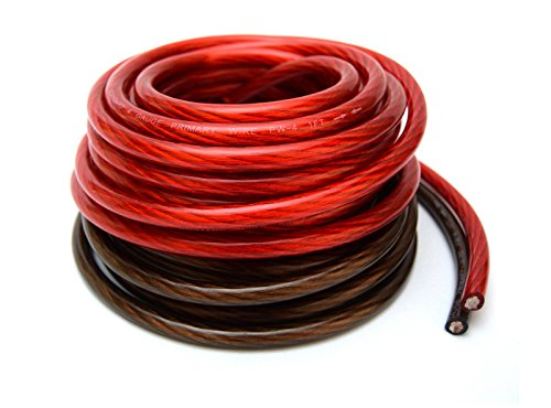 4 Gauge 25' BLACK and 25' RED Car Audio Power Ground Wire Cable 50' ft Total