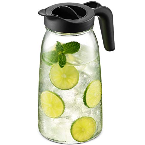 Everlasting Glass Pitcher with Lid and Spout [2 Quart - 67 Ounces] Fruit Infuser Water Pitcher, Carafe Pitcher with Airtight Lid & Durable Handle, Iced Tea Pitcher, Fits Perfectly on Fridge Door