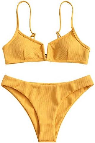 ZAFUL Women s V Wire Padded Ribbed High Cut Cami Bikini Set Two Piece Swimsuit Bee Yellow M product image