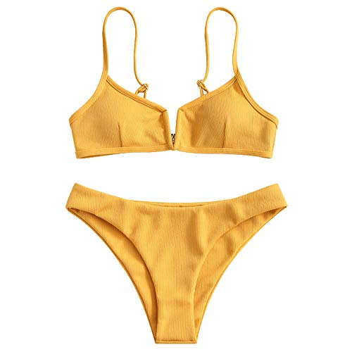 ZAFUL Women's V-Wire Padded Ribbed High Cut Cami Bikini Set Two Piece Swimsuit (Bee Yellow, L)