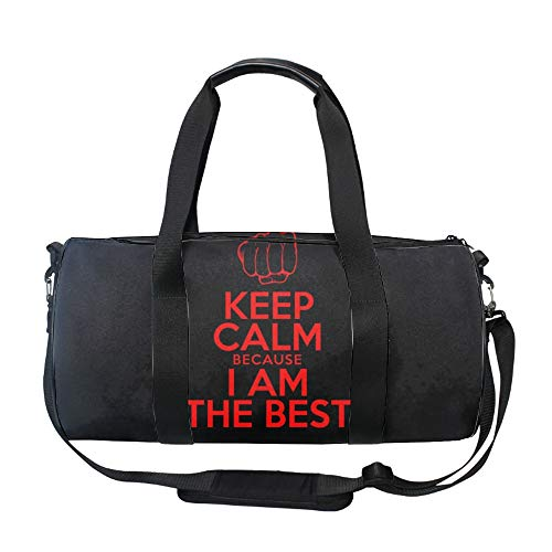 I Am The Best Round Gym Duffle Bag Drum tote Fitness Travel Bag Rooftop Rack Bag