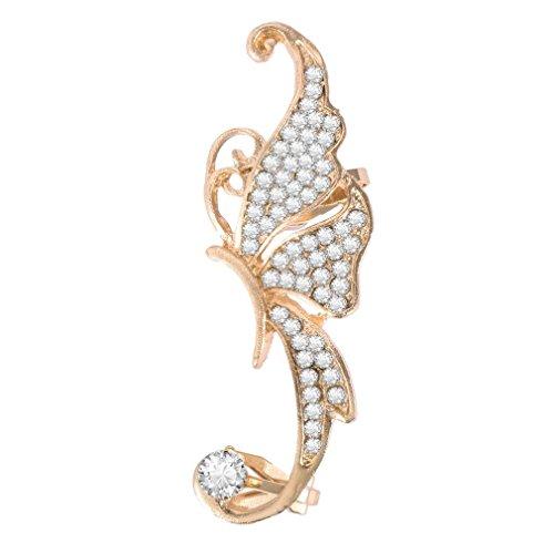 WEQQ Pendientes con Forma de Elfo y Mariposa con Diamantes de imitación para Mujer, Clip metálico para Oreja, Exquisito (Blanco)
