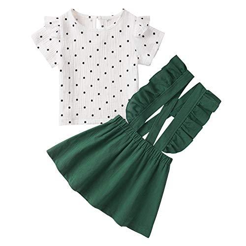 Conjunto de Ropa para bebé niña Conjunto de Falda para niña Conjunto de Lunares de Manga Corta + Falda de Tirantes con Volantes 2 Piezas Conjunto de Ropa para Vestido de Verano para niña pequeña